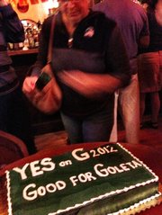 By 9 p.m. at Pepe's in Goleta, the Measure G crowd -- including co-organizer George Relles -- were already cutting the victory cake