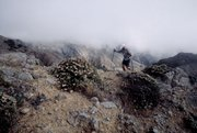 A hiker makes his way across Montanon Ridge on the southeast end of Santa Cruz Island.
