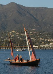 The Cormorant, pictured here day-cruising around Santa Barbara Harbor, provided Beamish access to wild and woolly times, wondrous sights, and heaping servings of soul-nourishing nature during his extended one-man surf trip.