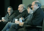 (Left to right) Ivan Reitman, Tom Pollock, Sacha Gervasi, and Joe Medjuck discuss the making of Hitchcock following a screening of the film at UCSB&#39;s Pollock Theater this past December 2.