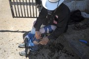 He protects his legs with metal braces; injuries in the corral are not uncommon.