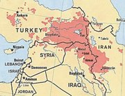 This regional map shows Kurdistan in red, a geo-cultural area that overlaps four countries.