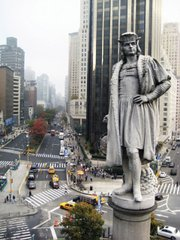 Columbus atop his monument before the installation.