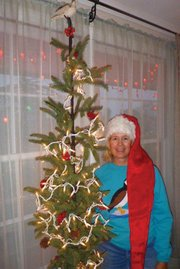 Sue and the Christmas tree.