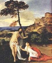 "<i>In the Footsteps of Jesus</i> posits that Jesus treated women as equals, including the woman who may have been his wife, Mary Magdalene. The two are seen here in Tiziano Vecellio's ""Noli Me Tangere,"" a painting from the 1500s."