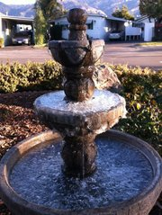 A frozen fountain on Old Mill Road in Santa Barbara