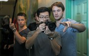 "Director Johan Bodell and crew on the set of ""Killer Raise"" at the Santa Barbara Tourist Hostel (Jan 25, 2013)"