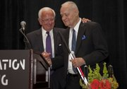 Ed Birch (left) presents the Visionary Award to David Winter.