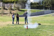 Students in Mr. Parsons physics class launch rockets, in awe of Newtons third law.