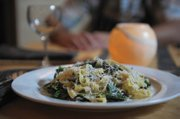 Michael Glazer's fresh pasta with melted leeks, caramelized fennel, winter greens, herb butter, and pecorino.