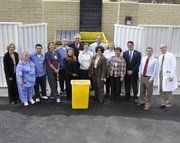 Left to Right: Chris McNamara, SVP of Operations; Cathy Ellis, MA, Rheumatology; Alberto Ortega, All Ways Clean; Jill Searchinger, Lead RN, Allergy; Juan Vera, All Ways Clean; Neive Tierney, City of SB, Environmental Services; Frank Hotchkiss, SB City Councilmember; Erica Morris, MA, Family Medicine; John Stampe, Environmental Services Manager; Helene Schneider, Mayor of SB; Kathleen Rodriguez, Patient Services Manager, Pesetas; Nelia Abuyen, Director, Pesetas; Vince Jensen, President and COO; Eric Lohela, City of SB, Environmental Services; and Kurt Ransohoff, MD, CEO and Chief Medical Officer.