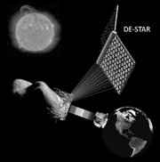 Concept drawing of the DE-STAR system engaging both an asteroid for evaporation or composition analysis while simultaneously propelling an interplanetary spacecraft.