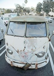 Waterfront officials say this Volkswagen bus has been parked the Santa Barbara Harbor's main lot for 27 years