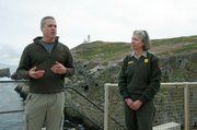 Gregg Howald (left) of Island Restoration and biologist Kate Faulkner of Channel Islands National Park.