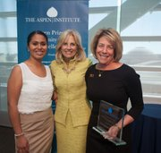SBCC student Edith Rodriguez (left) with Second Lady of the United States Dr. Jill Biden (center) and SBCC President Lori Gaskin (right) at the Aspen Institute luncheon on March 19 in Washington, D.C.