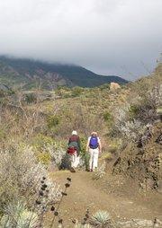 Elderly women hiking on the trail up to Nineteen Oaks.
