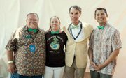 Dave Davis, CEO and Executive Director of the Community Environmental Council; Sigrid Wright, Associate Director of CEC and the festival's director; Bill Nye, scientist and one of this year's Environmental Hero Award honorees; and Assembly member Das Williams at the 43rd Santa Barbara Earth Day Festival hosted by the Community Environmental Council.