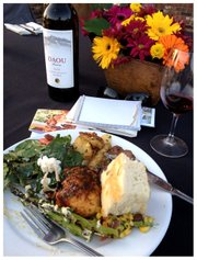 BBQ dinner and a Daou bottle from Friday night's CAB Collective event at Robert Hall Winery.