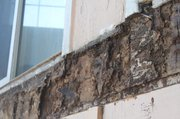 Evidence of dry rot where the balcony was attached to the building.