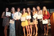 Left to right: Clara Madsen '14, Anastasia Antonova '13, Justin Palmer '13, Margaret Lazarovitz '14, Zoe Serbin '13, Bryana Schantz '13, Lindsay Ligon '14, Chloë Brown '14.
