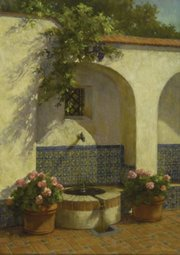 <b>IN TILE:</b> Glenna Harman created this pastel image of the Spanish Fountain at Casa del Herrero.