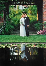 Kerin and Eric Friden on their wedding day; they were married in a small ceremony by the Lily Pond.