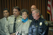 <b>FULL-COURT PRESS:</b>  (from left) ATF agent John D'Angelo, Santa Barbara County Sheriff Bill Brown, Santa Barbara County District Attorney Joyce Dudley, and Lompoc Police Chief Larry Ralston held a press conference to announce the arrest of 15 alleged gang members. (June 7, 2014)