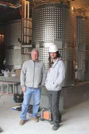 Madison Murphy and winemaker Dieter Cronje (in hard hat).