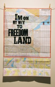 "<b>TEXT-HEAVY:</b>  Amos Lee's ""I''m On My Way"" is one of 30 prints currently on display at Sullivan Goss."
