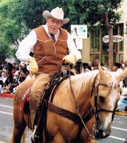 <b>RIDE 'EM:</b>  An expert horseman, Roy Wentz volunteered as an outrider in more than 50 Fiesta parades.