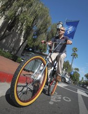 <b>MAN AND HIS BIKE:</b>  The author poses on a Van Nuys–made Genuine Bicycle Products BMX cruiser courtesy of Cranky's Bikes.