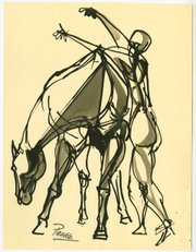 "Channing Peake's ""Untitled (horse and man)"", ca.1950"