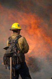 Gap Fire--backfiring on the Doty Ranch to head off fire heading downhill into the Goleta community.