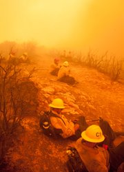 Jesusita Fire. Hot shot crews wait out the firestorm heading down into Mission Canyon, unable to move from their position.
