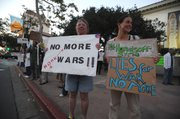 Protestors gather downtown to speak out against American military action in Syria