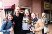 Michael Fassbinder with three UCSB starstruck students