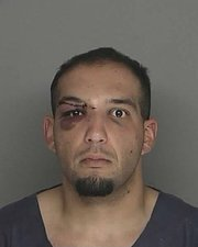 Erick Balint 2010 booking photo. Balint was injured during a high-speed pursuit with Santa Barbara authorities when he crashed a stolen car off Highway 101