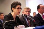 <b>NUMBER CRUNCHER:</b>  Panelist Judy Heiman from the Legislative Analyst's Office talks budget figures.