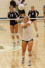 <b>SUPERSTAR SETTER:</b>  The Dons setter Lexi Rottman (pictured, #20) helped her team take the lead in the Channel League in a game against DP.