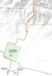 Map of Phase 1 of the project showing the route from the trailhead to the end point at a locked gate.