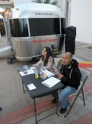 <b>AIRTIME:</b> The StoryCorps Airstream is now at the Library Plaza.