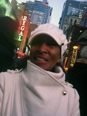 Akivah Northern in Times Square on New Year's.