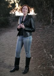 <b>STRAIGHT SHOOTER:</b>  Rebecca Rockwell, pictured standing on the Carpinteria Bluffs, had her third Western novel published late last fall. Titled <i>The Last Desperado</i>, the 540-plus-page novel has a scope more epic than shoot-out and revives her first antihero, Emmett, but concentrates more vividly on the life and times of Bill Doolin, a hard-working cowboy during the last phase of the Old West.