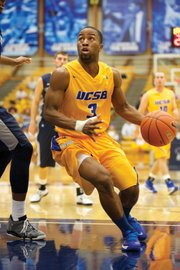 "<b>FLEET FEET:</b> Junior point guard Zalmico Harmon (#3) — known as ""Z"" — is a UCSB player with a high degree of basketball intelligence. His assist-to-turnover ratio of 4.69-to-1 is the second-highest in NCAA Division 1, and
