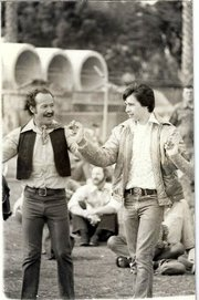 Luis Goena and his son David dancing at Chase Palm Park in 1975.