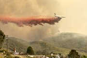 Another angle of the DC-10 dropping a line of fire retardant (May 13, 2014)