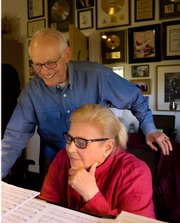 <b>POWER COUPLE:</b>  Alan Bergman (left) and his wife, Marilyn Bergman, work at the piano. Alan will perform an evening of music at the Lobero on May 17.