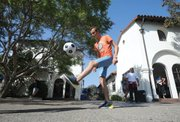 Though studying in Santa Barbara, many an EF International student will be rooting for their home-country teams. Julian Gambald, who hails from France, shows his ball-handling skills.