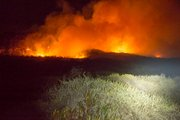Fire begins to turn towards the ocean threatening the dunes and snowy plover territory.