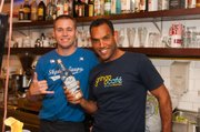 Owner Sam Flowers and I behind the bar at the Gringo Cafe.